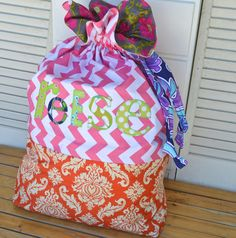 Love this! Personalized Applique Large Laundry Bag. $60.00, via Etsy.