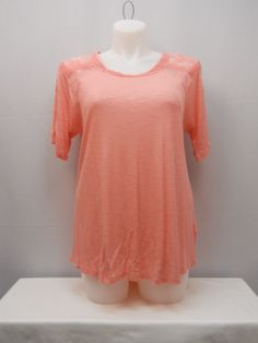 Cloud Chaser Womens Knit Top Plus Size 1X Coral Lace Trim Short Sleeves Pullover #CloudChaser #KnitTop #Casual
