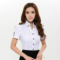 New Arrival 2014 Spring Summer Fashion White Blouses Women Shirts Short Sleeve Formal Ladies Plus Size Work Blouse Female White Short Sleeve Blouse, Moda Formal, Mode Plus, Plus Size Shirts, Summer Blouses, Formal Shirts, Work Attire, Short Outfits, Blouse Designs