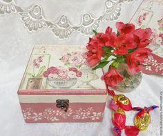 """Купить Шкатулка """"Нежность"""" - розовый, шкатулка, розы, шкатулка декупаж, шкатулка для украшений"""