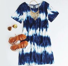 Tie dye dress and sandals