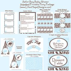 Safari Baby Shower - Blue and Brown Boy Baby Shower - PRINTABLE Personalized Package - Elephant Baby Shower