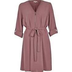 Pink zip-up shirt dress