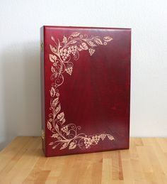 Red+Maple+Wine+Storage+Box+With+Grapevine+by+FineLineEngraving,+$65.00