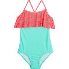 97fd3f38a82 O Rageous Kids Girls  Art Deco Crochet 1-Piece Swimsuit 1 Piece Swimsuit