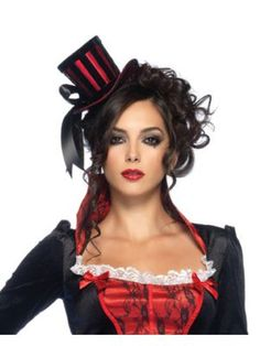 Deluxe Velvet Striped Satin Mini Top Hat Adult