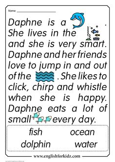 Reading Comprehension Worksheets: Daphne the Dolphin The Effective Pictures We Offer You About Reading Comprehension freebies A quality picture can tell you many things. You can find the most beautifu English Activities For Kids, Learning English For Kids, English Worksheets For Kids, English Lessons For Kids, Reading Worksheets, First Grade Reading Comprehension, Grade 1 Reading, Phonics Reading, Kindergarten Reading