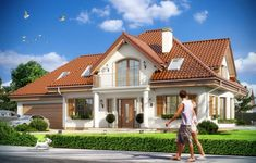 Projekt domu Ofelia - wizualizacja frontu Family House Plans, Home And Family, Family Homes, Bungalow House Design, House Blueprints, Design Case, Home Fashion, Cozy House, Home Projects