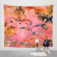 Tree tapestry, nature tapestry wall hanging, pink orange yellow leaf extra large wall art boho tapestry autumn leaves photo tapestry, modern