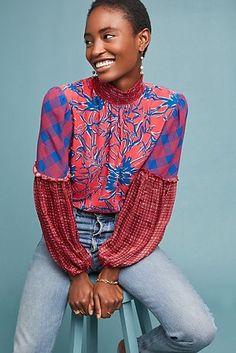 Anthropologie Blank London Vivant Peasant Blouse Size L NWT Fashion Line, Women's Summer Fashion, Fashion Women, Kimono Design, African Inspired Fashion, Peasant Blouse, Fashion Fabric, Corsage, Blouses For Women