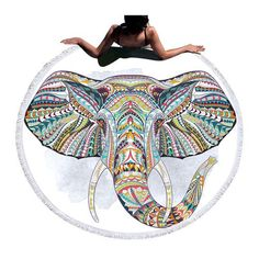 Elephant Totem Large Round Beach Towel With Tassel Beach Blanket, Picnic Blanket, Outdoor Blanket, Tantra, Reiki, Kundalini, Elephant Blanket, Bohemian Tapestry, Large Beach Towels