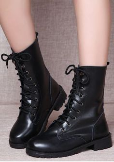 6fe69df4c011 Solid Lace Up Round Toe  boots  shoes Punk Boots