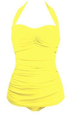 0d01562fa50f8 Spring Fever Women's Elegant Retro Vintage One Piece Pin Up Monokinis  Swimsuit Yellow S (US