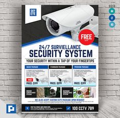 This CCTV Camera Store Flyer Design has been develop to boost your marketing campaign. Wireless Home Security Systems, Security Alarm, Local Police Station, Promo Flyer, Air Conditioning Units, Cctv Surveillance, Camera Shop, Marketing Opportunities, Home Camera