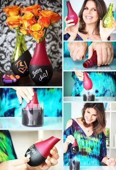 vidros de perfume reciclados com tinta lousa