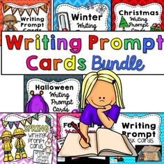 Writing Prompt Task Cards Bundle is a great collection of seasonal writing prompts for the whole year. The Writing Prompt Cards are a great for writing centers. Simply copy the prompts on card stock and put a ring in the top corner. Place these cards in your writing center to give students who struggle with coming up with topics to write about a helping hand!