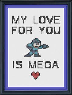 My Love For You is Mega - Mega Man Cross Stitch Pattern on Etsy, $5.00
