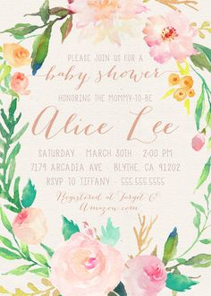 Unique Baby Shower Invitation Girl, Printable Watercolor Flower, Peonies, Pink and Green, Floral, Bohemian Baby Shower [110]  *Need your invite