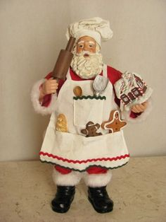 """Chef Santa Claus 11"""" Clothtique Possible Dreams Figurine Apron Utensils Cookies Currently $29.99"""