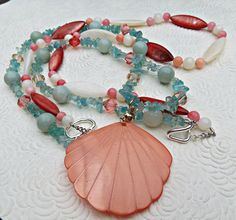 Peach and Aqua Shell Beach and Summer Double necklace by SparkleCatStudio, 25% of our proceeds donated to animal rescues. Find us on FB here: https://www.facebook.com/SparkleCatStudio