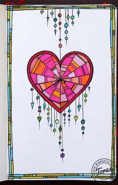 Heart-shape dream catcher - some doodles and dangles in my moleskine. Tangle Doodle, Tangle Art, Zen Doodle, Doodle Art, Zentangle Drawings, Doodles Zentangles, Doodle Drawings, Easy Drawings, Doodle Designs