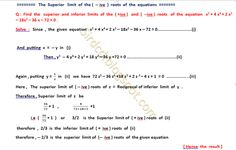Applied Mathematics: The Superior limit of  the  ( -- ive  ) roots of  ...