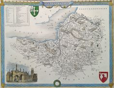Decorative Victorian Map of Somerset