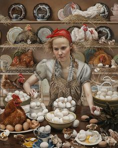 Available for sale from RJD Gallery, Andrea Kowch, Pecking Order-Limited Edition Signed Print 20 × 16 in Figure Painting, Painting & Drawing, Illustration Art, Illustrations, Chicken Art, American Gothic, Magic Realism, Realism Art, Human Soul