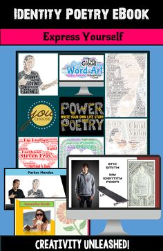 Inspire your students to express themselves through visual word art and by creating an Identity Poetry eBook!