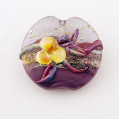 lampwork bead glass floral lentil focal by