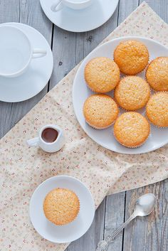 Muffins with passionfruit syrup