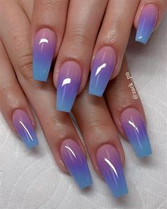 56 Trendy Ombre Nail Art Designs – Long Nail Designs - Water - New Ideas Nail Art Designs, Long Nail Designs, Ombre Nail Designs, Ombre Nail Art, Purple Ombre Nails, Acrylic Nails Coffin Ombre, Coffin Nails Designs Summer, Fancy Nails Designs, Beautiful Nail Designs
