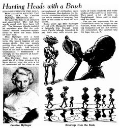 "An article about Caroline Mytinger, published in the Omaha World-Herald (Omaha, Nebraska), 3 January 1943, page 45. Read more on the GenealogyBank blog: ""Headhunting: The Unbelievable 1920s Adventure of Caroline Mytinger."" https://blog.genealogybank.com/headhunting-the-unbelievable-1920s-adventure-of-caroline-mytinger.html"