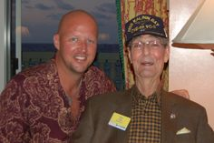 """The older gentleman on the right is an American hero.  His name is Earl """"Blue"""" Archer.  I met him in 2004 on a mountain in Germany, on an A.G. Edwards trip.  This pic was taken in Jamaica in my hotel room at a book signing I organized with a few friends.  Blue was a torpedo bomber pilot in WWII.  He is written about in the book """"The Last Stand of the Tin Can Sailors"""" by James Hornfischer.  He is a great American and I am proud to call him my friend."""