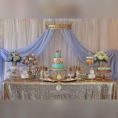 """""""Precious Little Prince Baby Shower Cake and Sweets by @littlesugarshopny Sugar cookies by @mayrascakepops #simplydivineeventdecor #desderts…"""""""