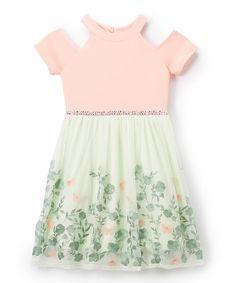 Pistachio & Coral Floral Cutout Dress #zulily #zulilyfinds