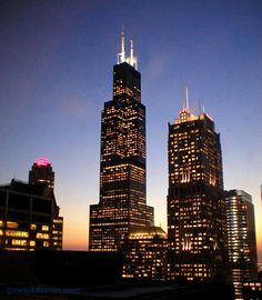 """Chicago skyline at dusk. Willis (fka Sears) Tower at center. My company has an office across the street from the Willis, and the Loop skyline is one of my favorite evening sights. Photo attributed to """"Sierra."""""""