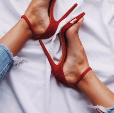 Red heels really are the best way to a girls heart. High Heel Pumps, Stilettos, Stiletto Heels, High Sandals, Red Sandals, Heeled Sandals, Zapatos Shoes, Shoes Heels, Cute Shoes