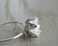 33bcdac6d10d Raw Herkimer Diamond Ring Organic Natural Stone by Gemologies Sortijas