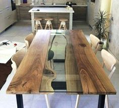 So let us take you in a reclaimed plank table ideas journey so you get pinning and saving for later to help you decide what can be done to improve your home. These reclaimed plank table ideas will assist you with figuring out what innovative ideas you can go for when choosing to create that unique furniture piece you will love to own, and, who knows, maybe you can even turn these into doing it yourself projects, shall you be one of those handy artsy people. Dinning Table Design, Unique Dining Tables, Live Edge Tisch, Live Edge Table, Plank Table, Wood Table, Esstisch Design, Dining Furniture, Unique Furniture