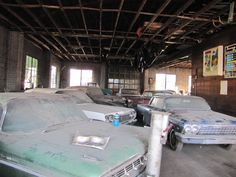 We contracted the Auction in June of 2013. The first thing we did was have the family open the doors. And started to clean and arrange for auction. The cars were covered with garbage, holes in the roof, and this picture is after we cleaned the garage and relined them up.
