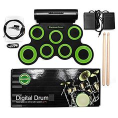 Electronic Drum Set Portable Electronic Drum Pad - Built-In Speaker (DC Powered) - Digital Roll-Up Touch 7 Labeled Pads and 2 Foot Pedals Midi Drum Up to Playing Time Holiday for Kids Children Beginners Childrens Drum Set, Kids Drum Set, Electronic Drum Pad, Electric Drum Set, Digital Drums, Built In Speakers, Drum Kits, Christmas Gifts For Kids, Audio Equipment