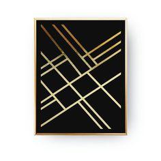 Geometric Gird Lines Abstract Print Poster Real Gold Foil Estilo Art Deco, Art Deco Bathroom, Homemade Art, Modern Art Deco, Insect Art, Abstract Canvas Art, Art Deco Furniture, Gold Print, Minimalist Poster