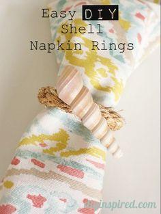 Easy Shell DIY Napkin Rings- cute for summertime