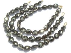 Pyrite Faceted Pear Briolettes 6x8 to 7x9 mm 24 by beadsogemstone, $13.05