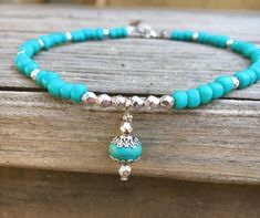 This unique beach Anklet is made with turquoise Toho beads, turquoise howlite stones, silver fauceted Czech glass beads, and silver flower cap beads. Beach anklet comes in several sizes. Just choose…MoreMore