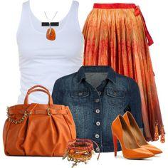Summer Orange Skirt by mommygerloff on Polyvore featuring Tusnelda Bloch, Alexander McQueen, L.A.M.B., Olivia + Joy and Be-Jewelled