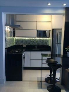 Small kitchen design and ideas for your small house or apartment, stylish and efficient. Modern kitchen ideas - with island and storage organization Kitchen Island Decor, Kitchen Cabinet Design, Modern Kitchen Design, Kitchen Interior, Home Interior Design, Kitchen Ideas, Kitchen Small, Small Apartments, Home Kitchens