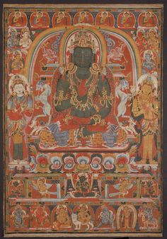 Amoghasiddhi of the Complete Removal of All Unfortunate Rebirths,thangka, Tibet. Buddha Buddhism, Tibetan Buddhism, Buddhist Art, Buddha Artwork, Thangka Painting, Oriental, Tibetan Art, 14th Century, Art And Architecture