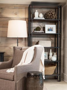 Check out this cozy, contemporary reading nook featuring an industrial style book shelf on HGTV.com.